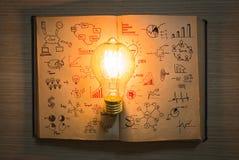 Электрическая лампочка и книга года сбора винограда с диаграммой дела Стоковые Изображения