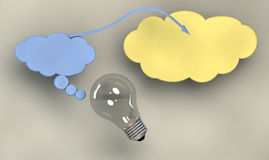 Электрическая лампочка и символы Стоковое Изображение