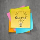 Электрическая лампочка нарисованная Ханом и ТВОРЧЕСКОЕ слово конструируют на липком примечании бесплатная иллюстрация