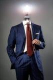 Электрическая лампочка на бизнесмене - концепции решения Стоковые Фото