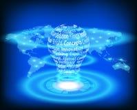 Электрическая лампочка на карте мира иллюстрация вектора