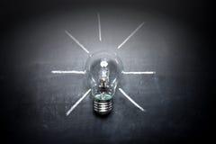 Электрическая лампочка на концепции идеи классн классного - предпосылке Стоковое Изображение RF
