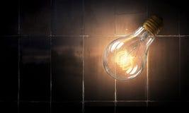 Электрическая лампочка на поверхности кирпича Мультимедиа Стоковая Фотография RF