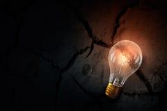 Электрическая лампочка на почве Мультимедиа Стоковые Фотографии RF