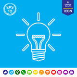 Электрическая лампочка - новые идеи Линия значок Стоковое Фото