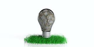 электрическая лампочка перевода 3d с монетками на траве иллюстрация штока