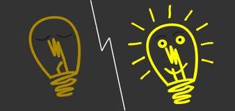 Электрическая лампочка повернутая время от времени иллюстрация штока
