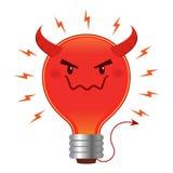 Электрическая лампочка плохой идеи злая с рожком и кабелем Стоковые Фото