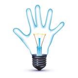 Электрическая лампочка руки Стоковые Фотографии RF