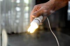 Электрическая лампочка ручки опытного человека Стоковое Изображение RF