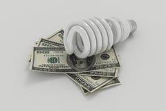 Электрическая лампочка спасения энергии, энергия спасения и деньги Стоковые Изображения