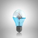 Электрическая лампочка с водой стоковая фотография rf