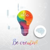 Электрическая лампочка сделанная акварели, лампочки и творческих значков, концепции акварели творческой Концепция вектора - творч Стоковые Фото