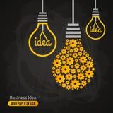 Электрическая лампочка с картиной шестерней на классн классном иллюстрация штока