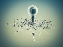 Электрическая лампочка с корнями и вытекаенная на значке с корнями Стоковое Изображение