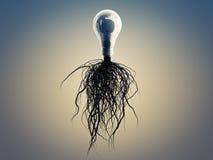 Электрическая лампочка с корнями и вытекаенная на значке с корнями Стоковые Фото