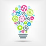 Электрическая лампочка с красочными шестернями внутрь также вектор иллюстрации притяжки corel Стоковые Изображения