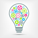 Электрическая лампочка с красочными шестернями внутрь также вектор иллюстрации притяжки corel Стоковое фото RF