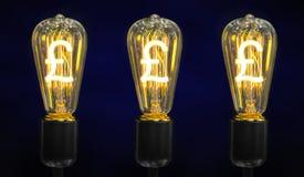Электрическая лампочка с символом фунта стерлинга Стоковая Фотография RF