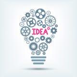 Электрическая лампочка с словом и шестернями внутрь также вектор иллюстрации притяжки corel Стоковое Изображение