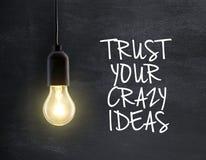 Электрическая лампочка с цитатой идеи Стоковая Фотография RF