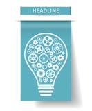 Электрическая лампочка с шестернями внутрь на плате голубой бумаги также вектор иллюстрации притяжки corel Стоковые Изображения