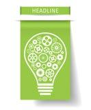 Электрическая лампочка с шестернями внутрь на плате зеленой книги также вектор иллюстрации притяжки corel Стоковые Фотографии RF