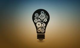 Электрическая лампочка с шестернями Стоковое Изображение RF