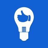 Электрическая лампочка с thump вверх показывать Плоский значок Стоковое Фото