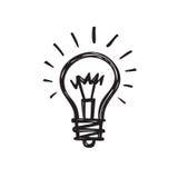 Электрическая лампочка - творческая иллюстрация вектора притяжки эскиза Знак логотипа электрической лампы иллюстрация штока