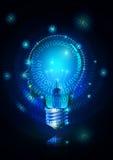 Электрическая лампочка & технология человеческой головы Стоковые Изображения