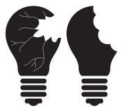 Электрическая лампочка - убийство, ломающ, разрушающ, ломающ, разрушать, крадя хорошую концепцию идеи зацепляет икону Стоковые Изображения