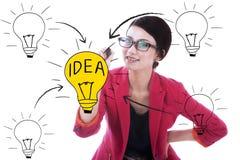 Электрическая лампочка чертежа бизнес-леди стоковое изображение