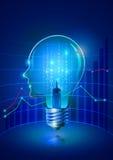 Электрическая лампочка человеческой головы и доля дела Иллюстрация штока