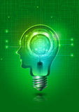 Электрическая лампочка человеческой головы с абстрактной технологией Стоковые Фото