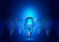 Электрическая лампочка человеческой головы с предпосылкой дела символа доллара Иллюстрация штока