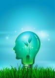 Электрическая лампочка человеческой головы с природой Иллюстрация вектора