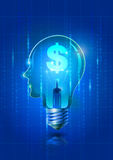 Электрическая лампочка человеческой головы с символом доллара Стоковые Изображения RF