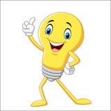 Электрическая лампочка шаржа смешная указывая его палец Стоковое Изображение