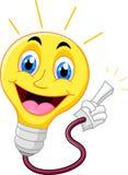 Электрическая лампочка шаржа указывая его палец Стоковые Фото