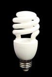 Электрическая лампочка энергии эффективная на черной предпосылке - серии 2 стоковая фотография rf