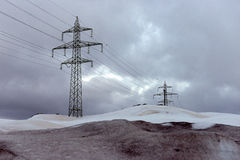 электрическая высокая линия напряжение тока силы Стоковая Фотография RF