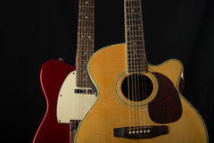 Электрическая и акустическая гитара Стоковое фото RF