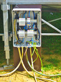 Электрическая конструкция установки линии электропередач стоковая фотография