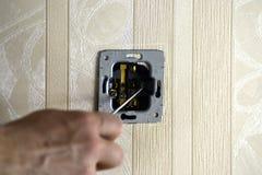 Электрическая работа в комнате Стоковая Фотография