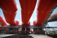 Электрическая станция тепловой мощности, трубопровод стоковое фото