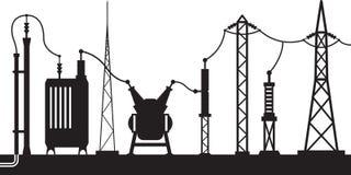 Электрическая сцена подстанции Стоковое фото RF