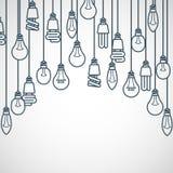 Электрические лампочки вися на шнурах Стоковые Фото