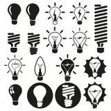 Электрические лампочки. Комплект иконы шарика Стоковое фото RF
