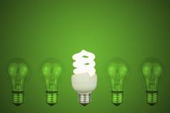 Электрические лампочки с энергией центра низкой Стоковые Фото